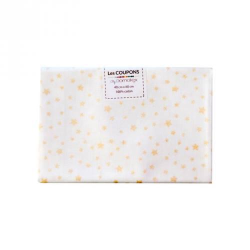 Coupon 40x60 cm Coton Noël blanc imprimé étoiles dorées
