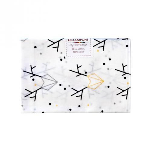 Coupon 40x60 cm coton Noël blanc imprimé cerfs géométriques pailletés