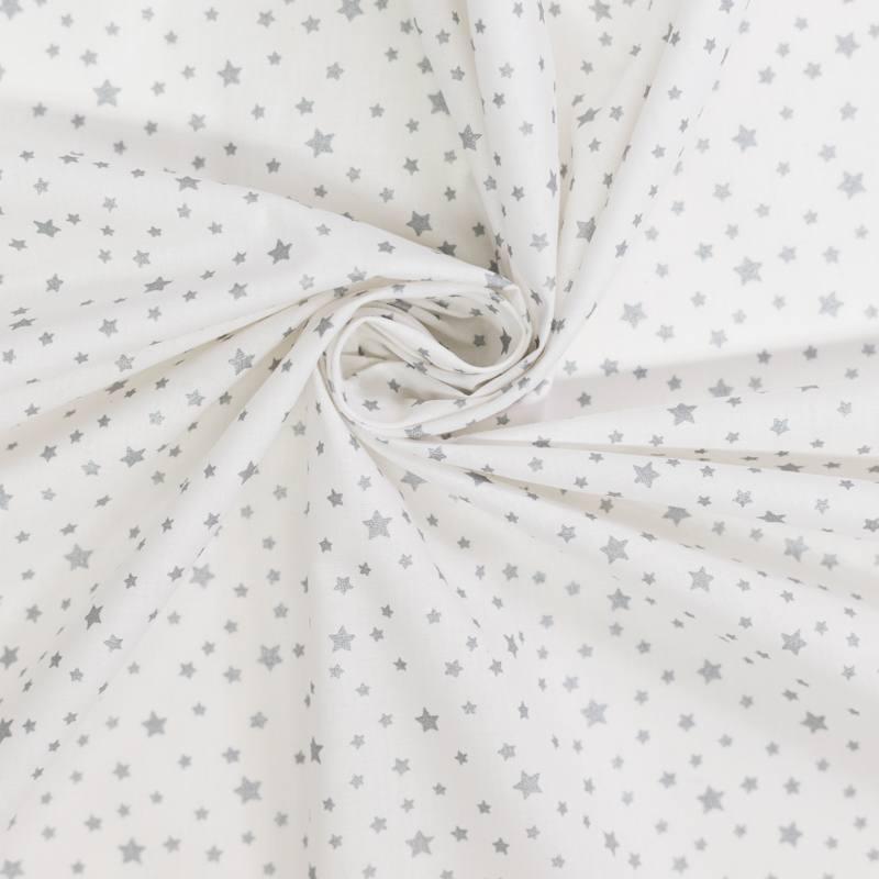 Coton blanc motif étoile argent dousni