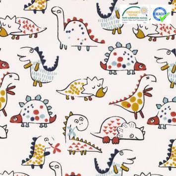 Coton blanc motif dinosaure ocre et bleu diplo