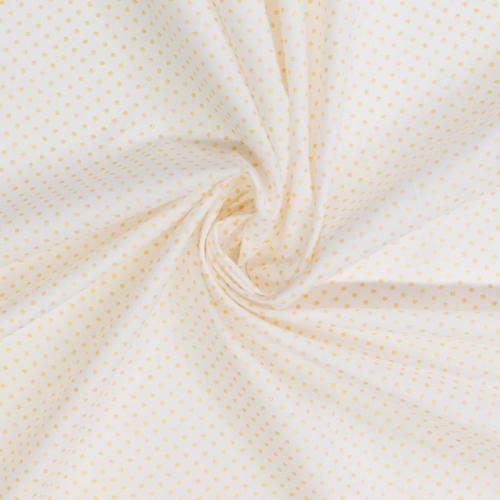 Coton blanc motif pois or pisani