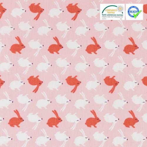 Coton rose motif lapin rouge et blanc balapin