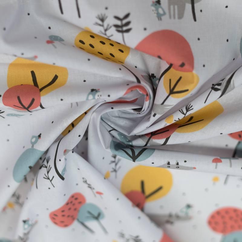 Coton gris perle motif loup à noeud papillon loupala