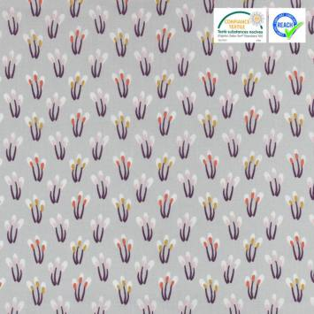 Coton gris motif papluma