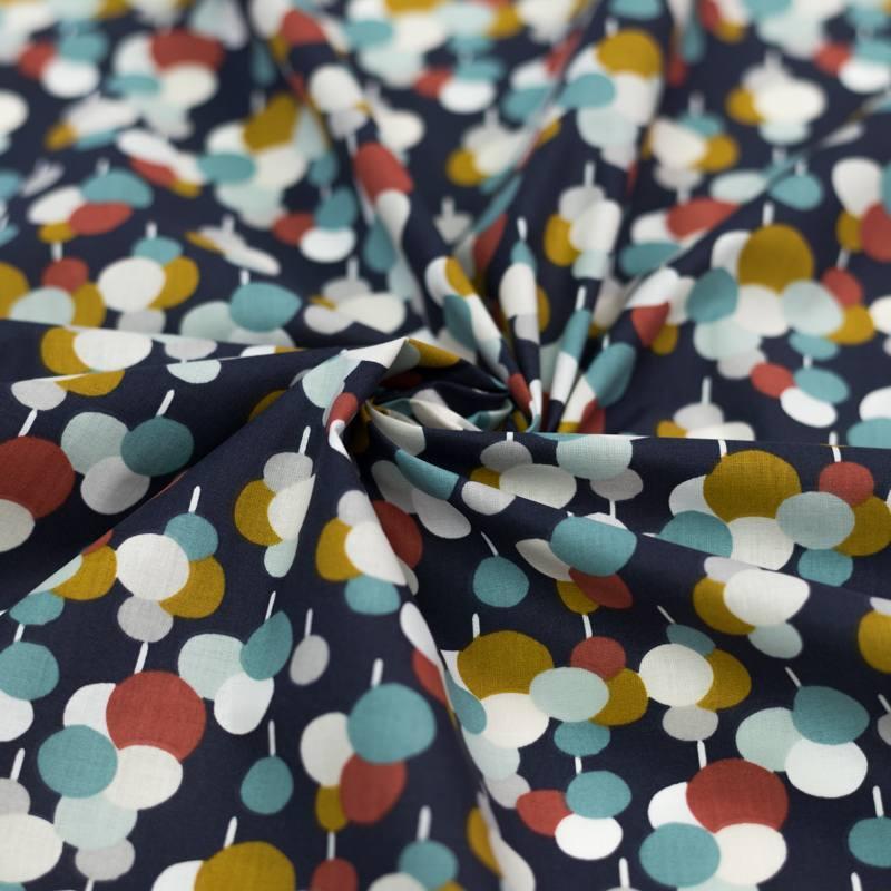 Coton bleu motif lubila