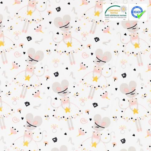 Coton blanc motif souris ballerine corissou