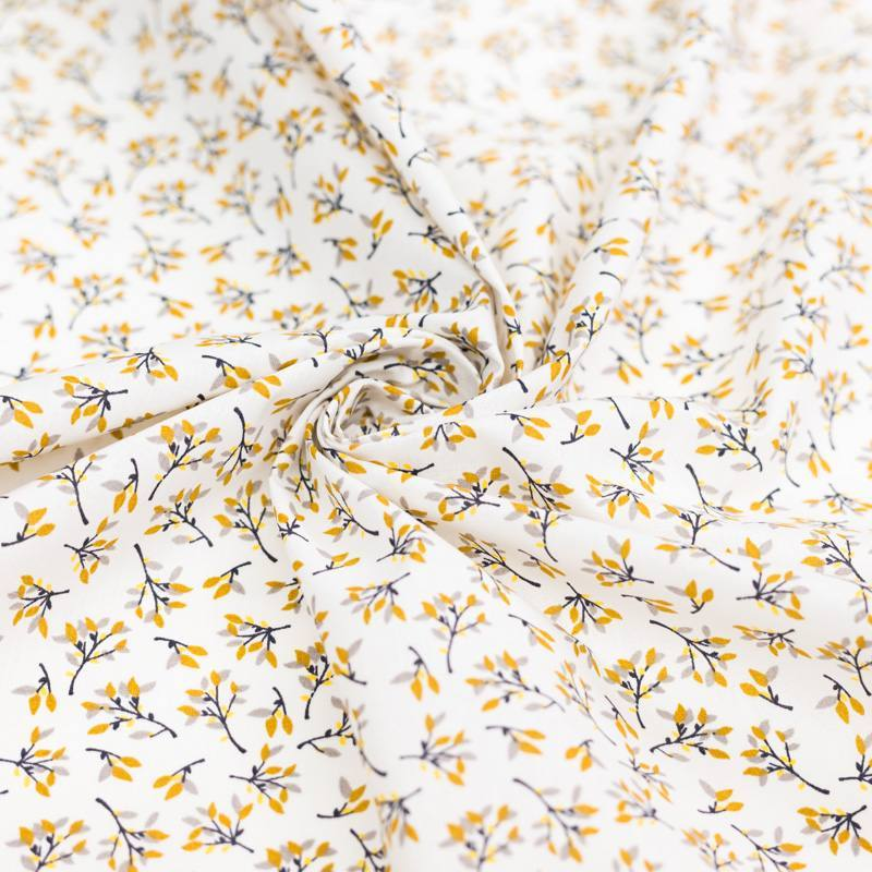 Coton écru motif branchage hosta ocre
