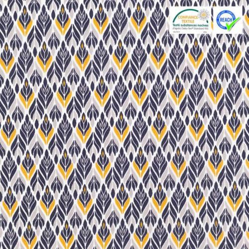 Coton blanc motif spleen bleu et ocre