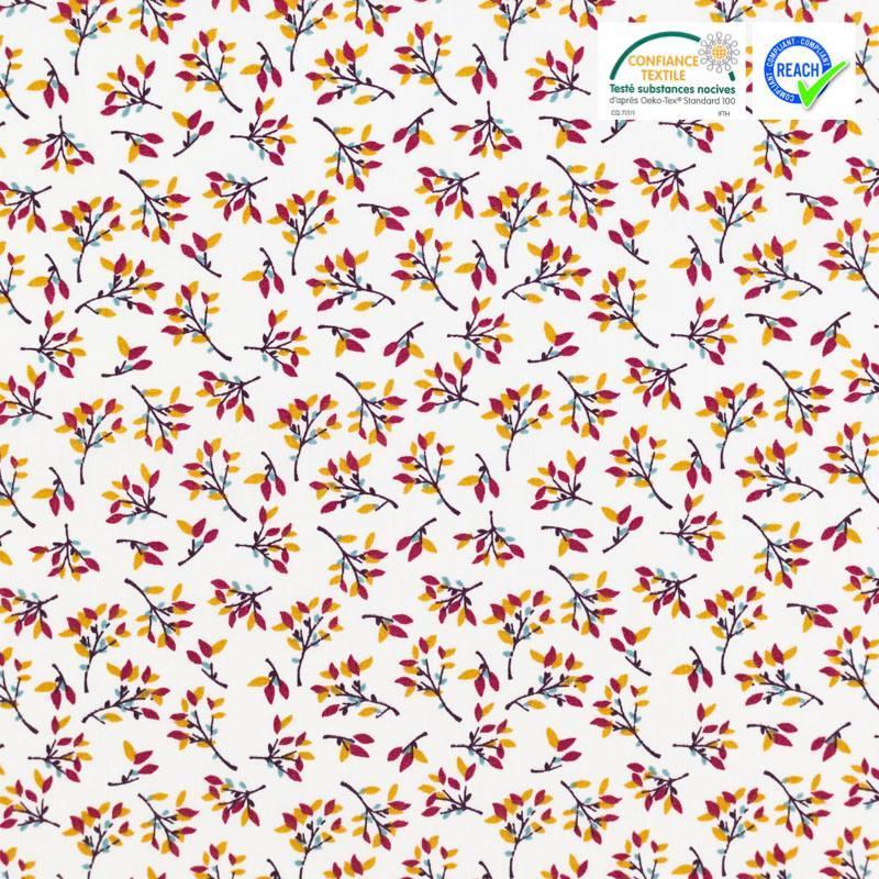 Coton écru motif branchage hosta