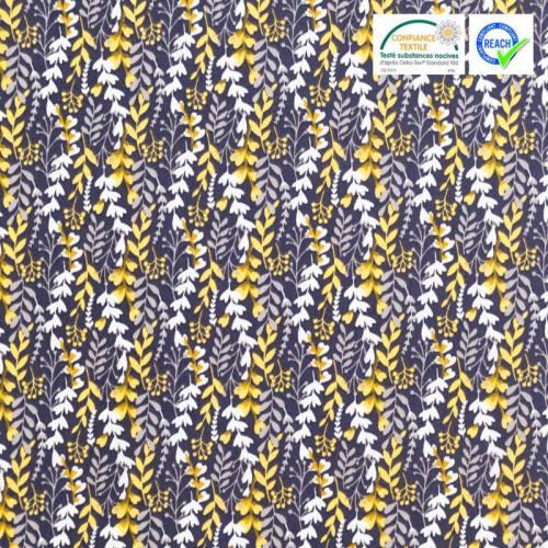 Coton bleu motif feuillage feia
