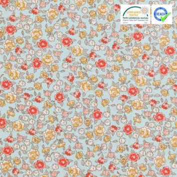 Coton vert d'eau motif fleur sarina