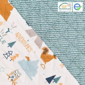 Tissu matelassé enfant réversible motif tamias