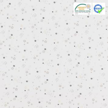 Coton blanc motif étoile grise et noire zenor