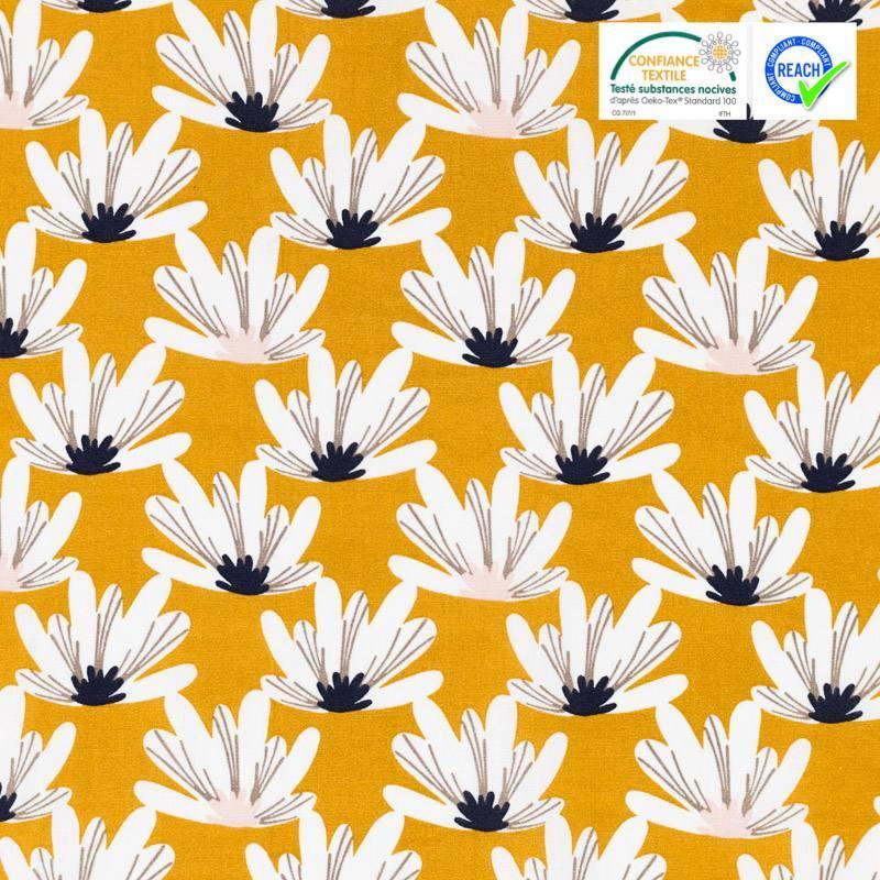 Coton ocre motif fleur myriel