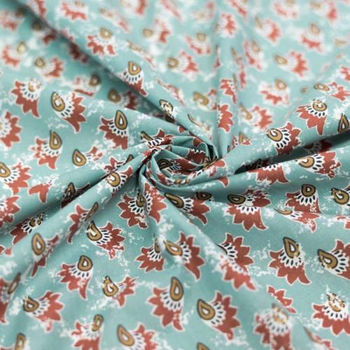 Coton vert menthe motif khaja