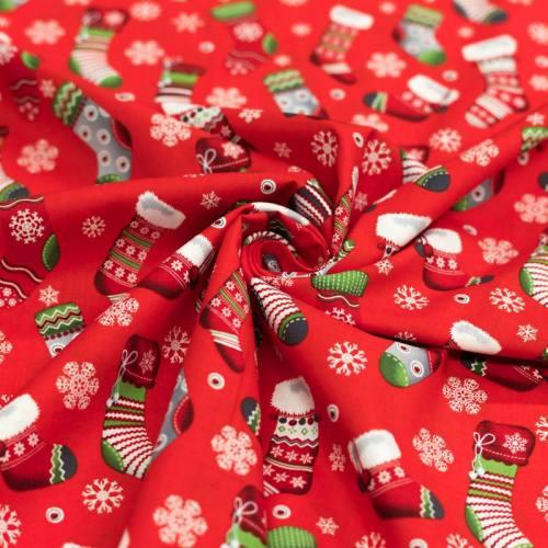 Coton de Noël rouge motif chaussette de Noël rouge