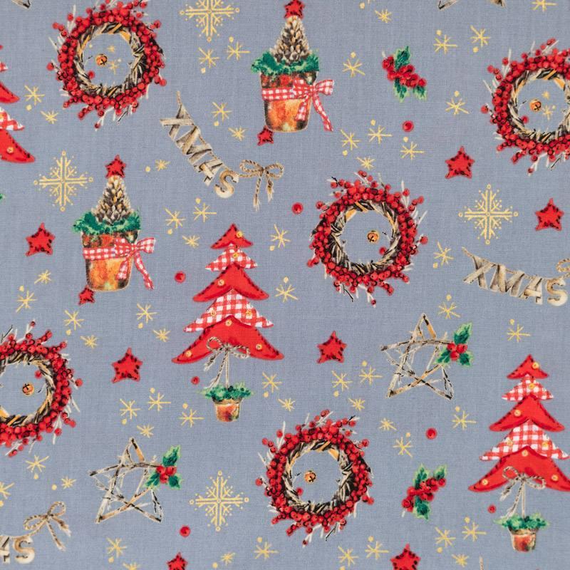 Coton de Noël gris motif décoration de Noël