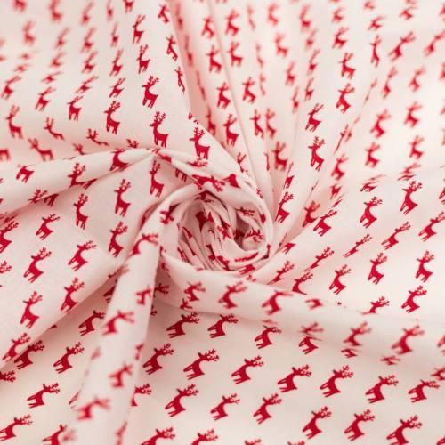 Coton de Noël blanc motif renne rouge