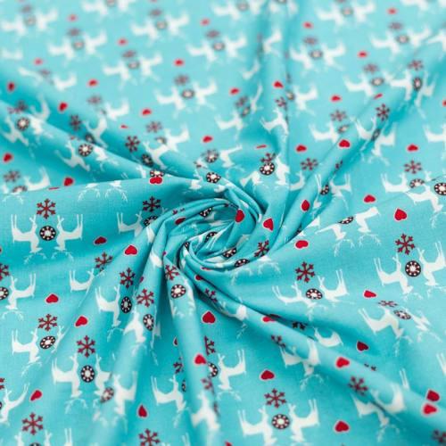 Coton de Noël bleu clair motif flocon, renne et coeur