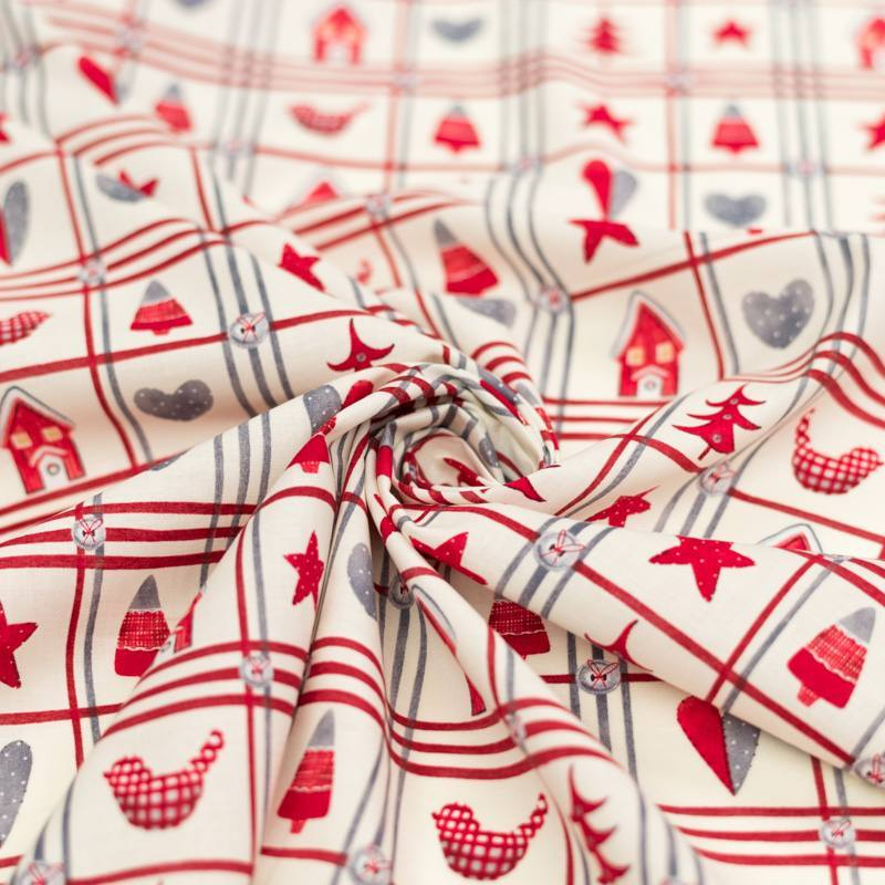 Coton de Noël ivoire motif Noël rural