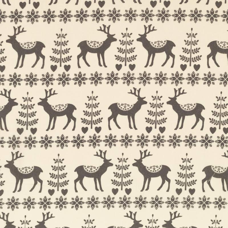 Popeline de coton de Noël crème motif renne hiver gris