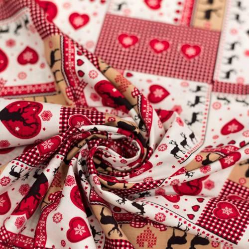 Coton de Noël rouge et ocre motif coeur et renne