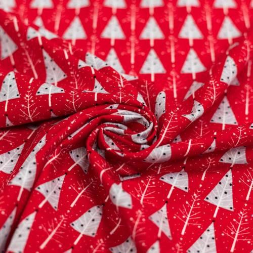 Popeline de coton de Noël rouge motif sapin gris