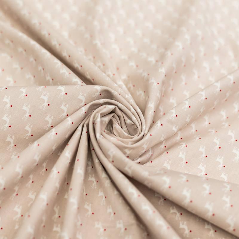 Coton de Noël grège motif renne blanc