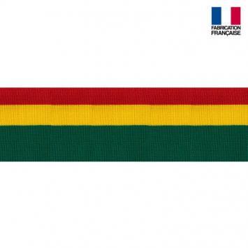 Bord-côte vert jaune rouge 7 cm