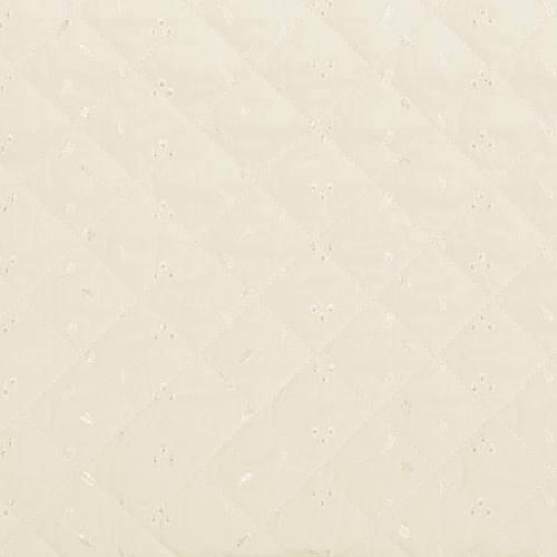 Tissu matelassé ivoire borderie anglaise