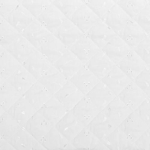 Tissu matelassé blanc broderie anglaise