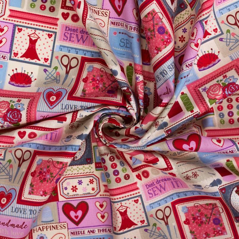 Coton cretonne écru et rose motif boite à couture