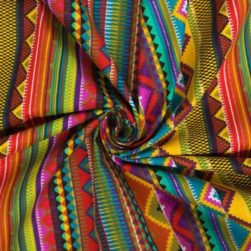 Coton cretonne multicolore motif aztèque rose et bleu