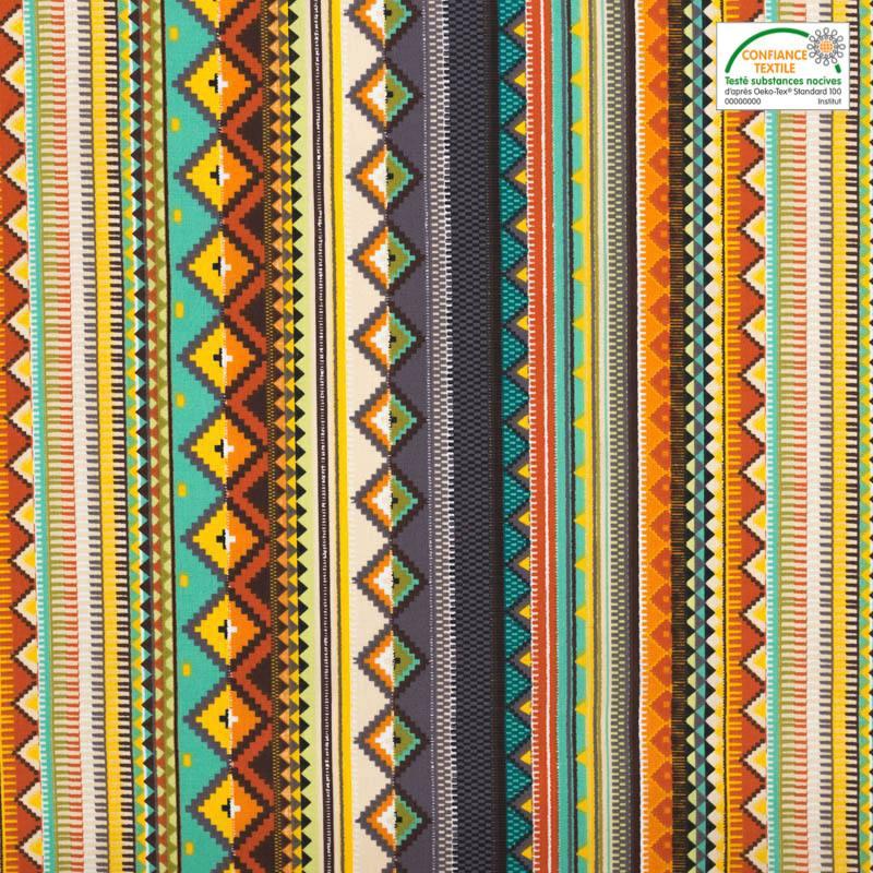 Coton cretonne multicolore motif aztèque écru et turquoise
