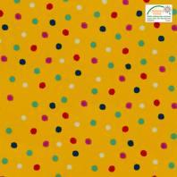 Coton cretonne jaune motif pois multicolores