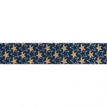 Ruban laitonné Noël étoiles pailletées bleu marine