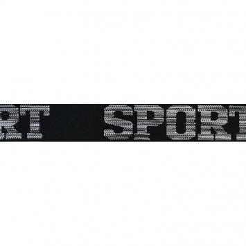 Élastique noir 32mm motif sport