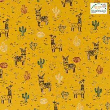 Jersey ocre motif lama et cactus
