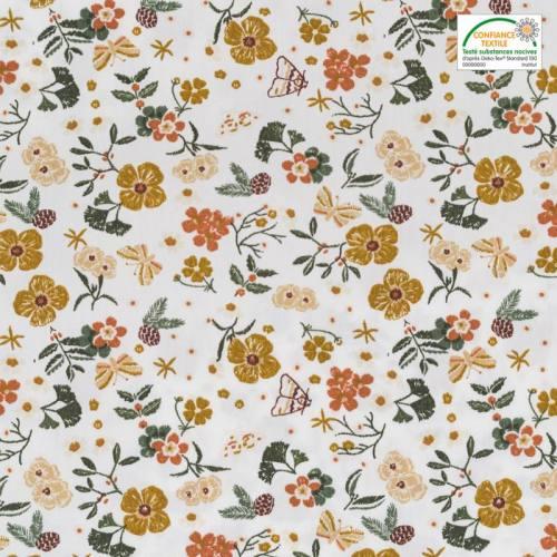 Popeline de coton blanche motif fleur automnale