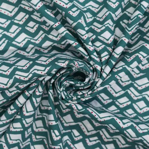 Popeline de coton blanche zig zag vert