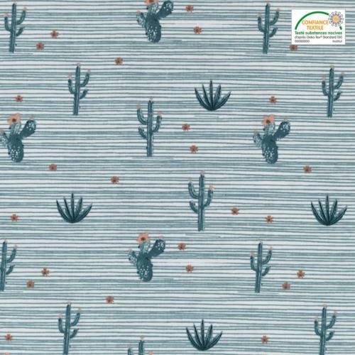 Popeline de coton blanche motif cactus et rayures verts
