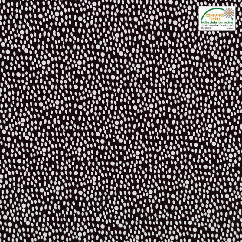 Popeline de coton marron motif grain de riz blanc