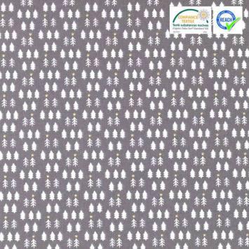 Coton Noël gris motif sapin blanc tsugneg