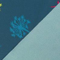 Tissu softshell bleu canard motif pissenlit