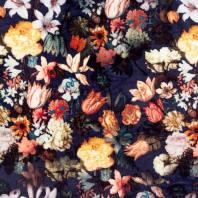 Panne de velours bleue imprimée fleur