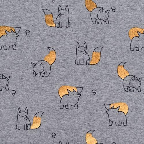 Jersey gris chiné motif renards cuivrés