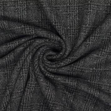 Jersey lainage gris foncé motif carreaux