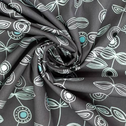 Popeline de coton grise motif fleurs graphiques blanches