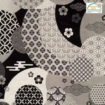 Jacquard motif Dorayaki noir et argent