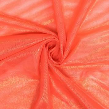Résille extensible orange paillettes dorées